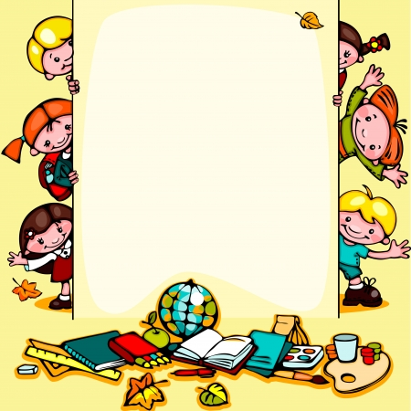 yellow notepad: kids  school yellow background. Illustration