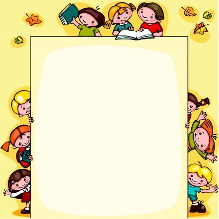 ni�os estudiando: escuela de los cabritos fondo amarillo