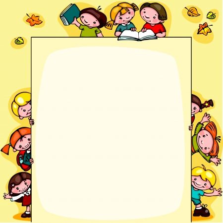 kids  school yellow background Vector