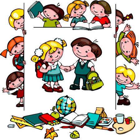 子供の学校のセット。  イラスト・ベクター素材
