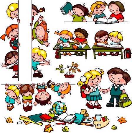 the pupil: kids  school set.   Illustration