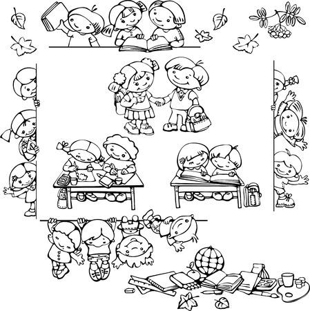 Satz von Schule Kinder Silhouetten. Standard-Bild - 23161115