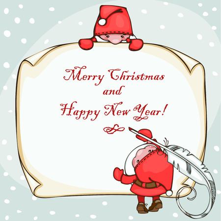 Banner merry christmas and happy new year, with Santa Claus Stock Vector - 23860522