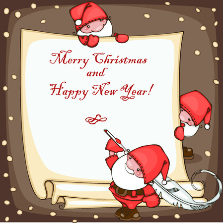 Banner merry christmas and happy new year, with Santa Claus Stock Vector - 23860523