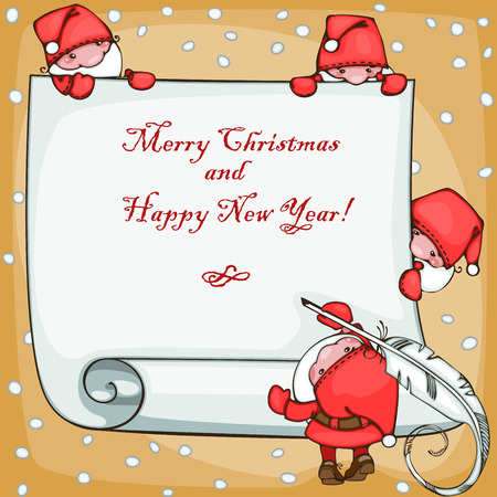 Banner merry christmas and happy new year, with Santa Claus Stock Vector - 23860524