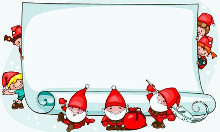 サンタ クロースと子供とクリスマスのバナー。テキストを配置します。  イラスト・ベクター素材