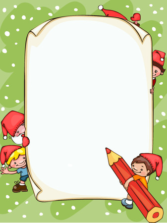Christmas  blank  with Santa Claus and  kids. Place for text.  Illustration