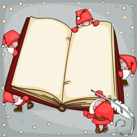 サンタ クロースとクリスマス ブック。テキストを配置します。  イラスト・ベクター素材