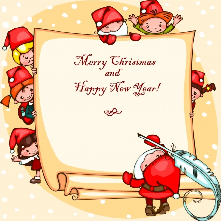 Christmas card with Santa Claus and  kids. Place for text. Stock Vector - 23860528