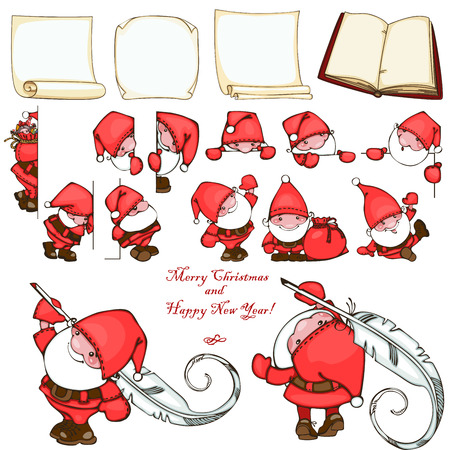 Christmas set with paper blank and Santa Claus. Vector