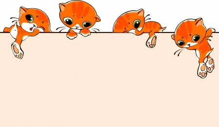 小さな猫とバナー。テキストを配置します。ベクトル イラスト。  イラスト・ベクター素材