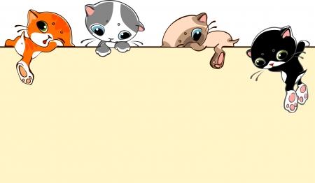 kotów: banner z małych kotów. Miejsce dla tekstu. ilustracji wektorowych.