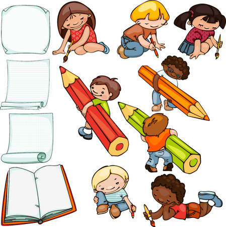 preschool teacher:  school set, children draw and blank forms for text