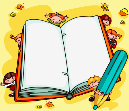 school baby: school background with children - an open book  Place for text