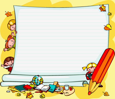 school schedule: school children Illustration