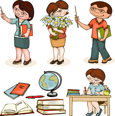 teacher school. set man and woman standing, with flowers and at the table.