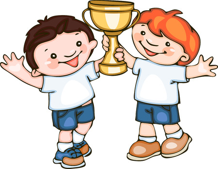 school kids with cup.   Vector
