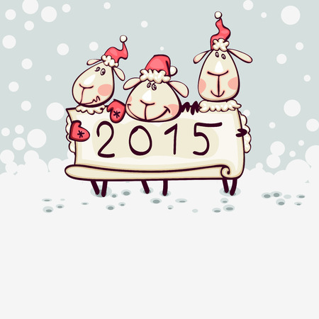 New Years card 2015 with the ram, goat Vector