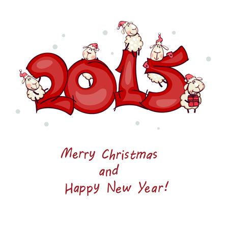 nieuwjaar: New Year's postkaart 2015 met de ram, geit