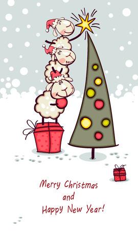 carnero: Tarjeta del Año Nuevo. Ram y cabra adorna el árbol de navidad
