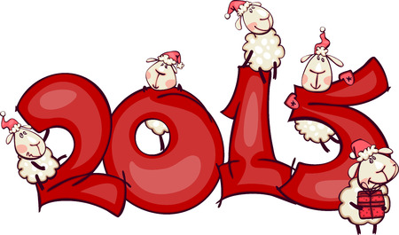 New Years banner 2015 with the ram and goat Vector