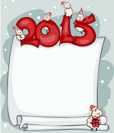 New Years blank 2015 with the ram and goat. Place for text Ilustracja