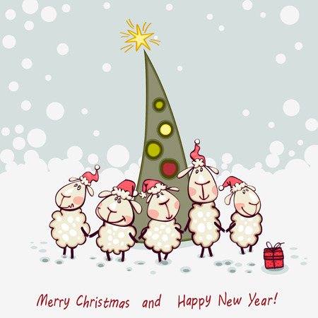 New Year's card. Ram and goat decorating christmas tree