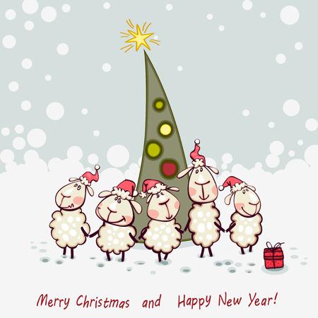 animal ram: New Years card. Ram and goat decorating christmas tree