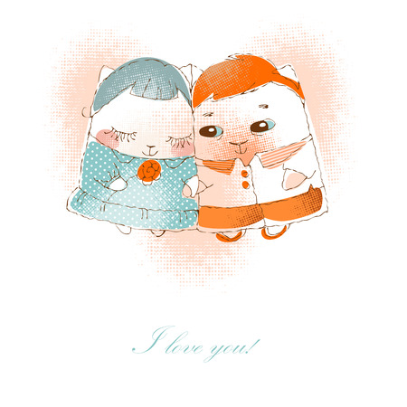 couple in love cats  . Vector illustration of Valentine card Vector