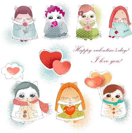 collection valentine cats. Vector illustration of Valentine card illustration