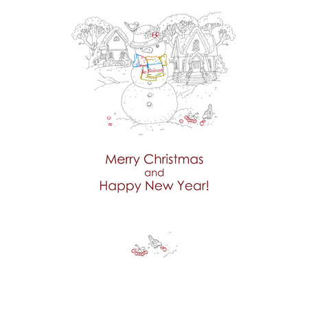 Christmas card  with snowman. freehand drawing. vector illustration. Vector