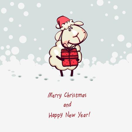 christmas card. Ram and goat  with christmas gift Vector