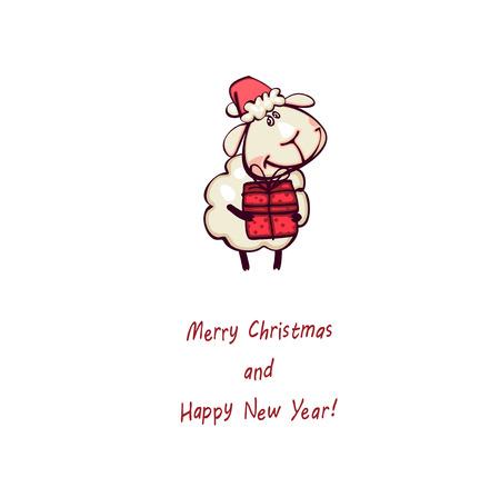 christmas card. Ram and goat ram with christmas gift Vector