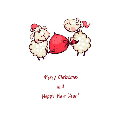 christmas card. Ram and goat ram with christmas sack Vector