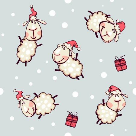 christmas wallpaper  with ram and goat Vector