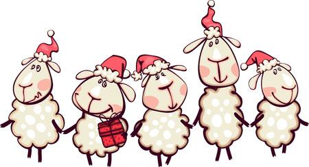 ラムとヤギのクリスマス国境  イラスト・ベクター素材