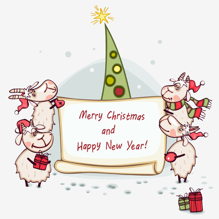 christmas banner 2015 with tree and goat Vector