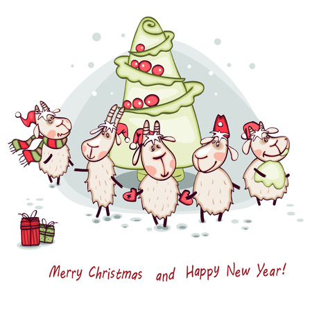New Years card 2015 cabbage in the form of a Christmas tree with goat and ram Vector