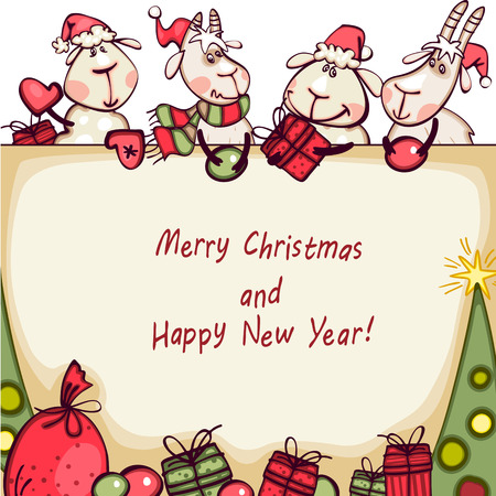 christmas banner with tree, goat and rams Vector