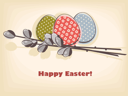 happy easter card. easter egg with pussy-willow  branch. vector illustration. Vector