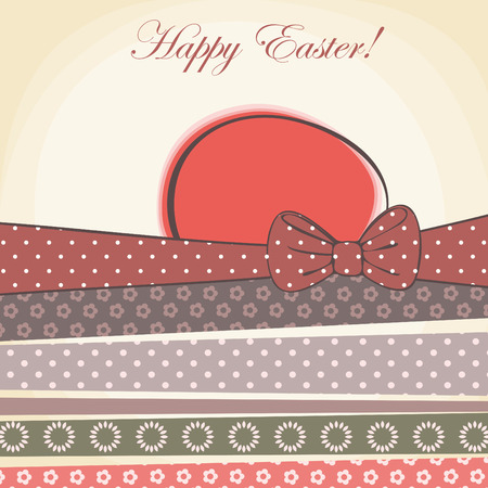 happy easter card. easter egg with pattern ribbons  vector illustration. Vector