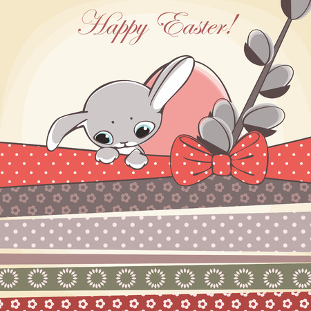 happy easter card. easter rabbit and egg with pattern ribbons  vector illustration. Vector