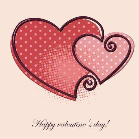 two hearts: Valentine greeting card - two hearts.  Vector background.
