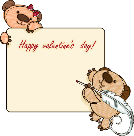 vector greeting card: Valentine  banner with teddy bear. Vector illustration
