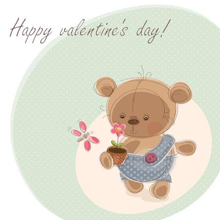 Valentine card with teddy bear. Vector illustration Vector