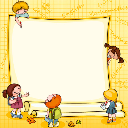 cartoon school girl: school childrens  banner. Place for text