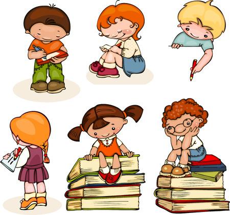 escuela: niños de la escuela conjunto leer libros, escribir y dibujar Vectores