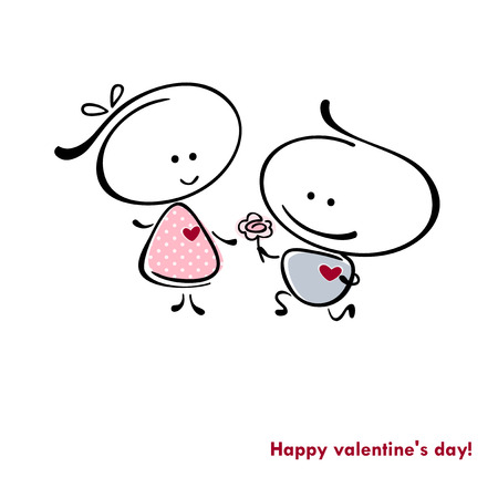 meet: valentines couple,  meet on a date. Vector illustration of Valentine card