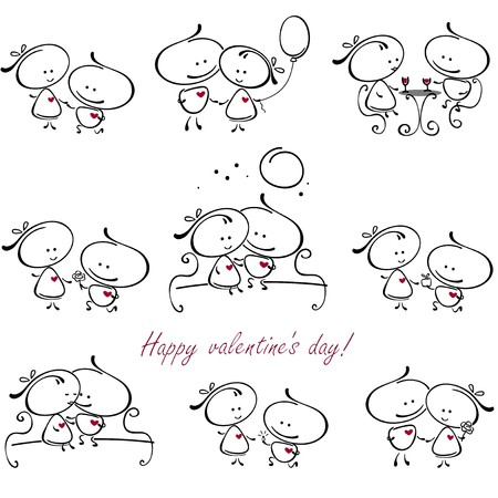 meet: valentines couple,  meet on a date. Vector illustration of Valentine collection