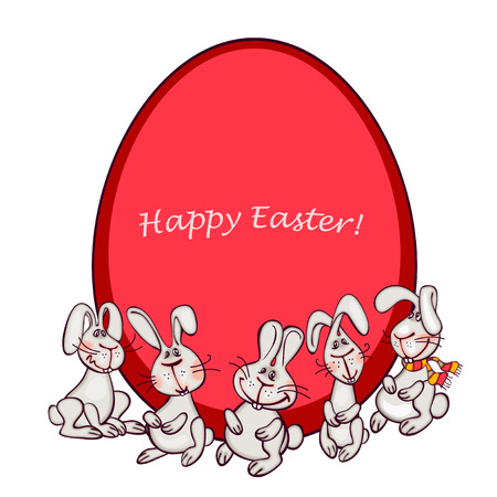 funy: happy easter card. easter  bunny and eggs